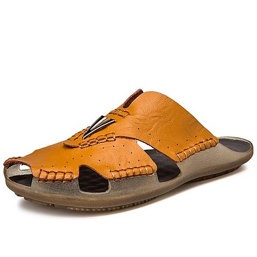 Backless Shoes Men's Light Soles Cowhide Spring …
