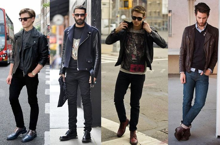 модные мужские кожаные куртки-косухи, с чем носить, фото