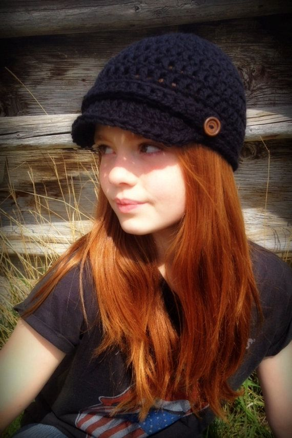 Ladies/Teen Girl Newsboy hat~Black with Espresso Wooden Buttons on Etsy, $25.00 CAD