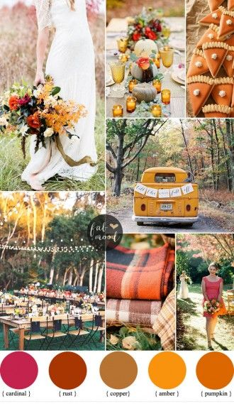 Bold and Colorful Fall Wedding in Amber,cardinal , pumpkin and rust | fabmood.com