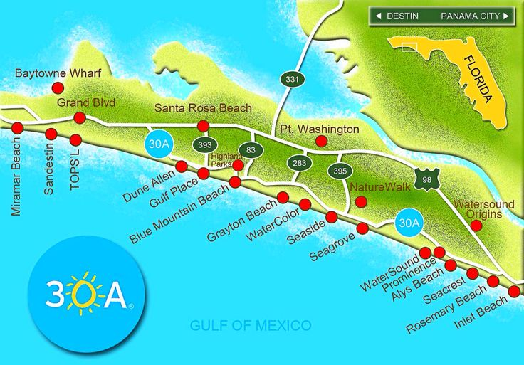 Scenic Highway 30-A is a 28.5 mile slice of paradise that hugs the Gulf of Mexico coastline in Northwest Florida's Walton County. Along this emerald coast drive you will see sugar-white sand beaches and some very rare coastal dune lakes. Scenic 30A has an exciting and eclectic mix of hot Caribbean colors and soft pastels, with architecture to match the 15 beach communities connecting this beautiful hwy. Don't miss: Eden State Gardens in Pt. Washington State Park and Topsail Hill Preserve.