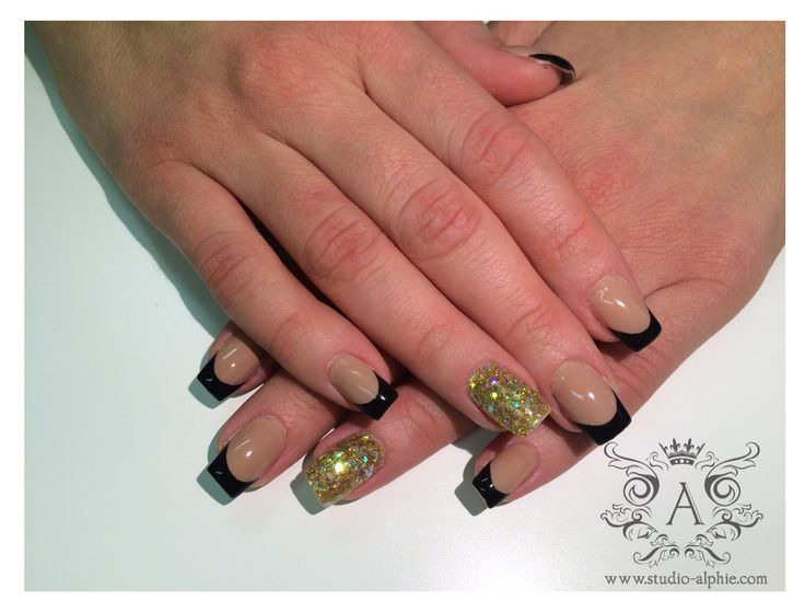Black & nude base with gold glitter.
