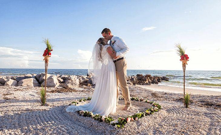 Intimate barefoot beach wedding package st pete beach