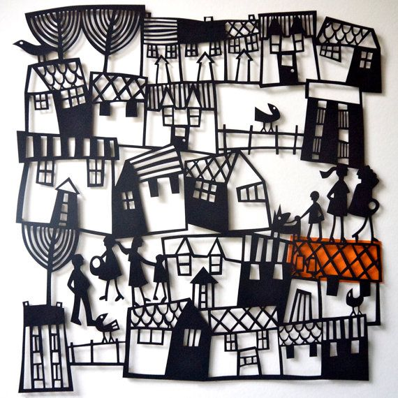 VILLAGE Papercut of a Houses and People / by CarolineReesPapercut