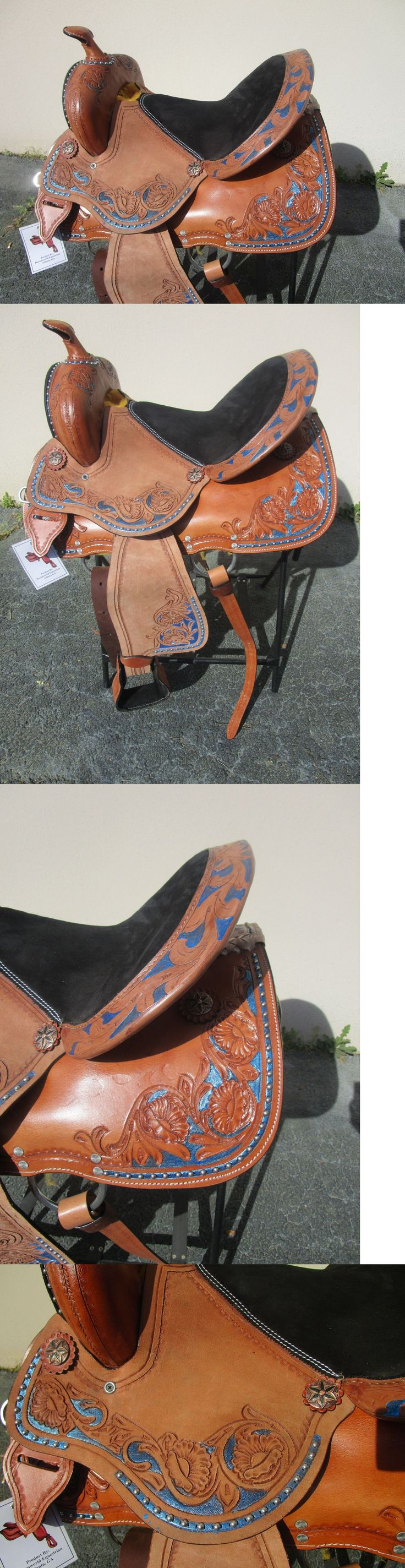 Saddles 47291: 15 Barrel Racing Show Blue Studded Floral Tooled Leather Western Horse Saddle BUY IT NOW ONLY: $278.99