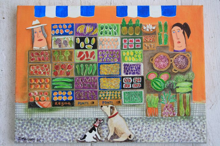 The market out in Northern Spain in Spring is a wonderous collections of your '5 a day'. Acrylic on canvas by Julie Massam