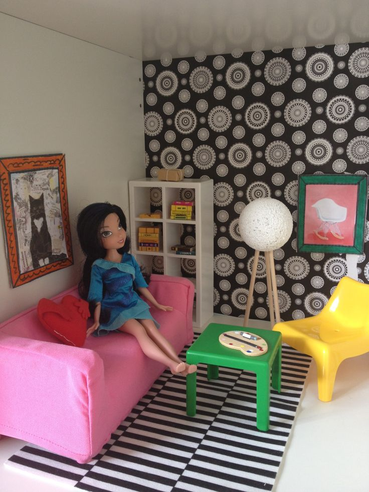 Dollhouse living room- with IKEA dollhouse furniture and DIY pieces!
