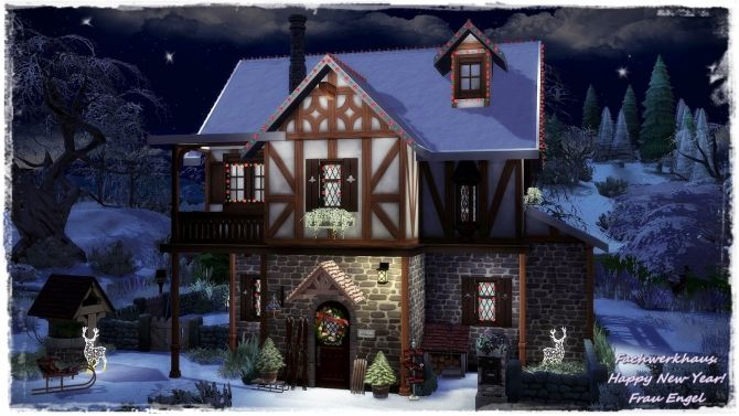 Tudor style house Happy New Year at Frau Engel • Sims 4 Updates