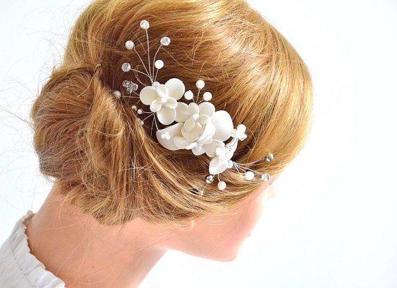 Nuziale capelli pettine copricapo floreale in avorio di MyArtDeco