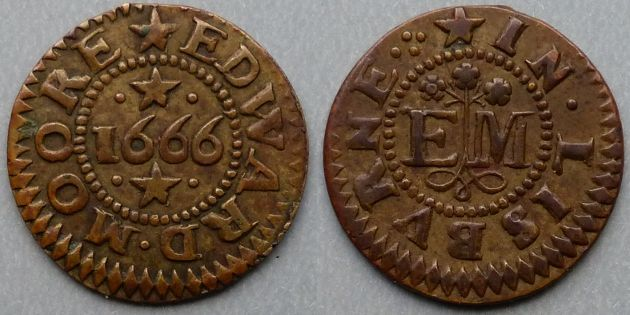 Lisburn, Edward Moore 1666 penny token Obv: (mullet)EDWARD.MOORE , around cable inner circle, 1666 with .(mullet). above and below. Rev: (mullet)IN.LISBVRNE.:. , around cable inner circle, E M with ormonde knot below, at the ends of which three flowers appear above the initials. M. Dickinson 589. Dies as Norweb 6317 but a much superior example.