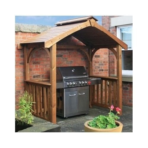 grill gazebo outdoor wooden patio shade deck bbq shelter pavillion pergola bar backyard ideas. Black Bedroom Furniture Sets. Home Design Ideas
