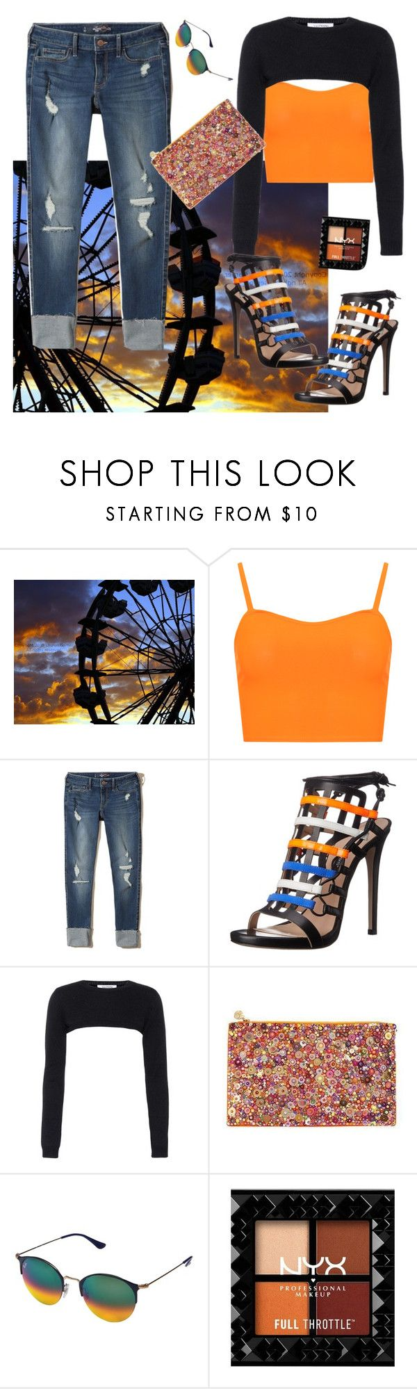 """""""Fun jeans"""" by denibrad ❤ liked on Polyvore featuring WearAll, Hollister Co., Ruthie Davis, Valentino, Forest of Chintz and Ray-Ban"""
