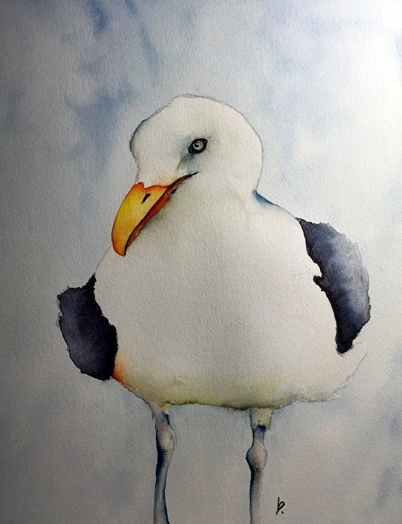watercolor bird painting bird art original watercolor Seagull Chipper by Betty Moore