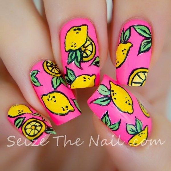 fruit nail art, orange nails - Uñas de frutas