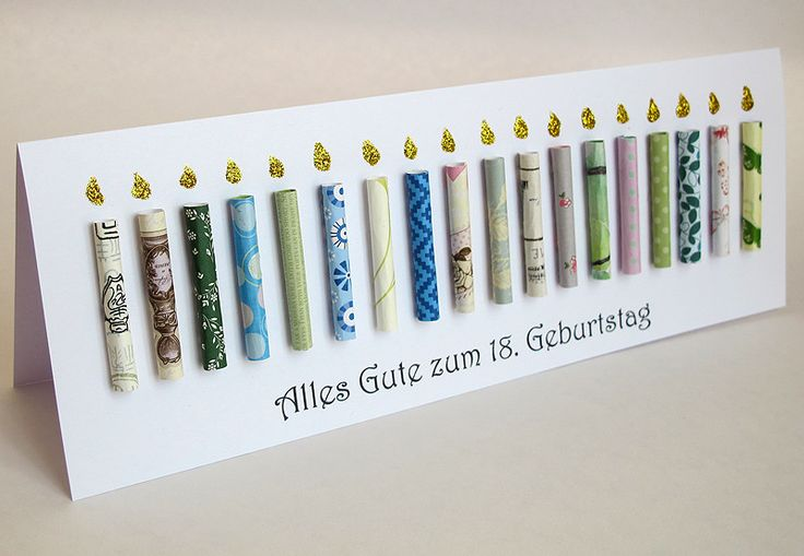 Große Geburtstagskarte, 18. Geburtstag, Kerzen aus Papier, Riesenkarte und personalisiert,  Von Berlin Art and Design auf DaWanda.com