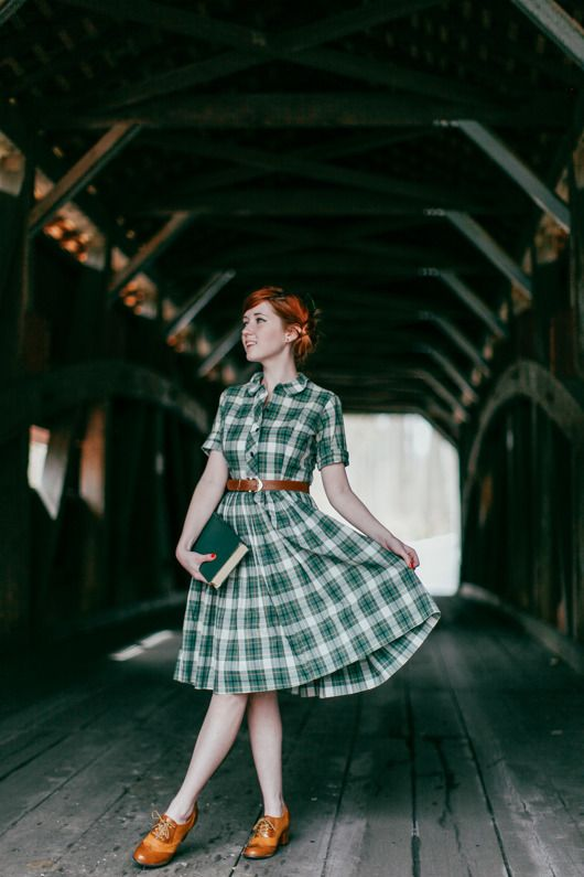 Green plaid dress | The Clothes Horse | Outfit: Covered Bridge