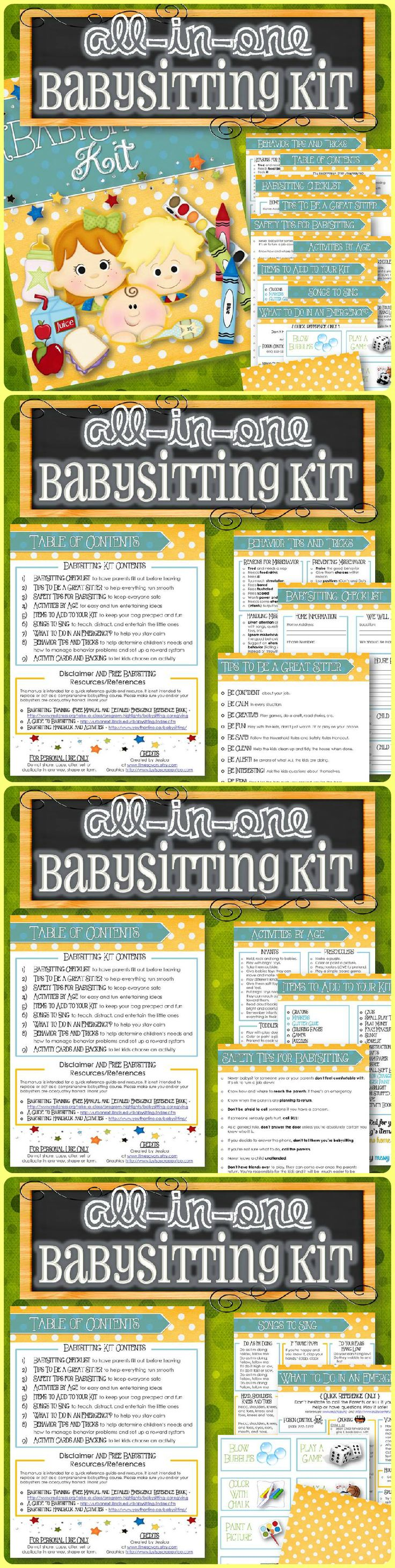 An easy way to either become or teach babysitters how to do a fantastic job and help them become a favorite babysitter by the parents AND the kids. It contains the items needed to help keep everyone safe, handle emergencies, deal with misbehaving, have fun activities, set up a reward system, easy checklists, and make a fun Babysitting Bag. Babysitters can have their kit created within minutes and although additional items can be added, this kit has it all covered!
