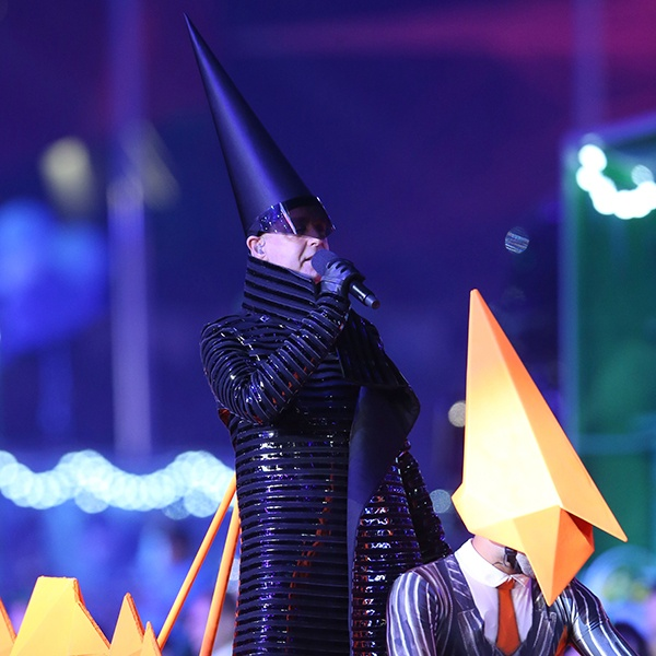 Neil Tennant of The Pet Shop Boys perform during the Closing Ceremony on Day 16 of the London 2012 Olympic Games at Olympic Stadium on August 12, 2012 in London, England. (Photo by Scott Heavey/Getty Images)