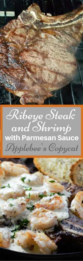 This Applebee's Copycat Steak and Shrimp with Parmesan Sauce is amazing! Tender, juicy grilled Ribeye steak is topped with seasoned grilled shrimp and a savory Parmesan cheese sauce. This is the perfect easy surf and turf dinner for two, ready in just 30 minutes. #SteakAndShrimp #ApplebeesCopycat #Parmesan #SurfNTurf #seafood #beef #DinnerForTwo #RecipesForTwo