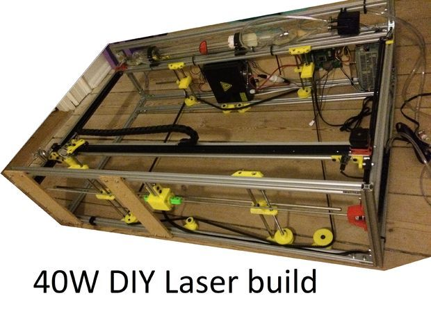 Picture of DIY 40W CNC Laser cutter, from bad to better with 3D printing