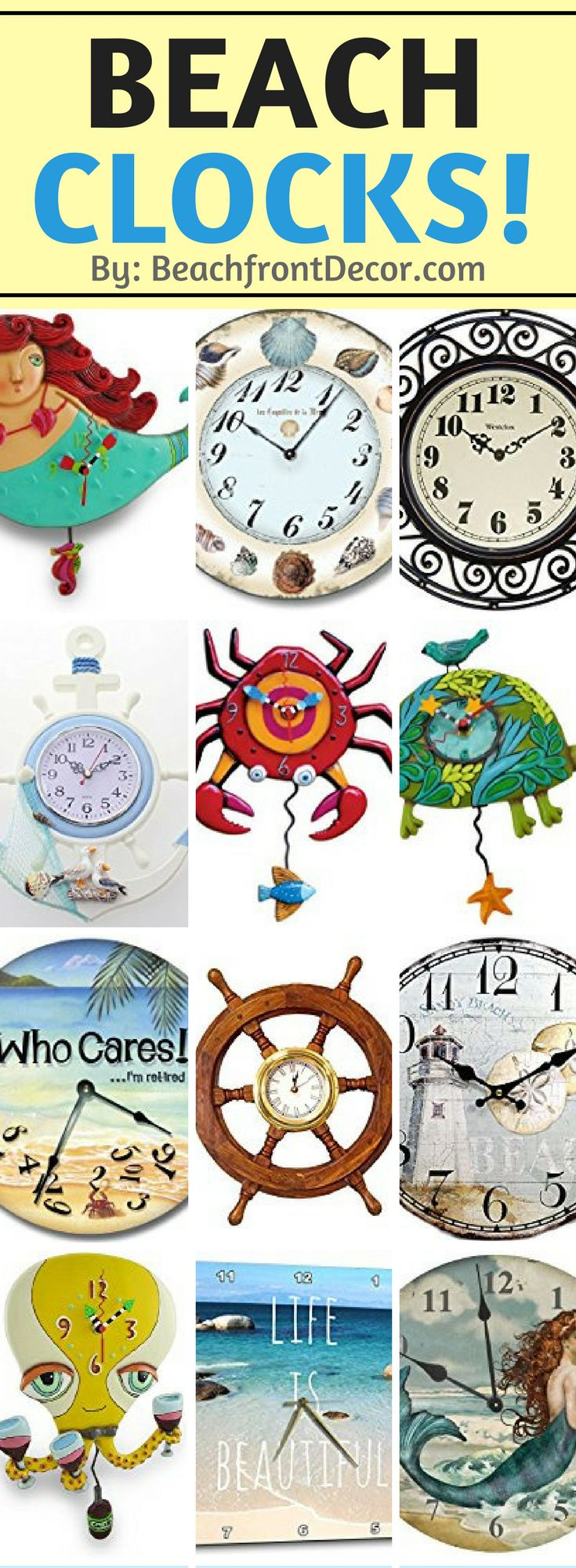 Check out all of our nautical, coastal, tropical, and beach themed clocks for your beach home!  Beach clocks can be perfect for wall decor and to of course tell time.