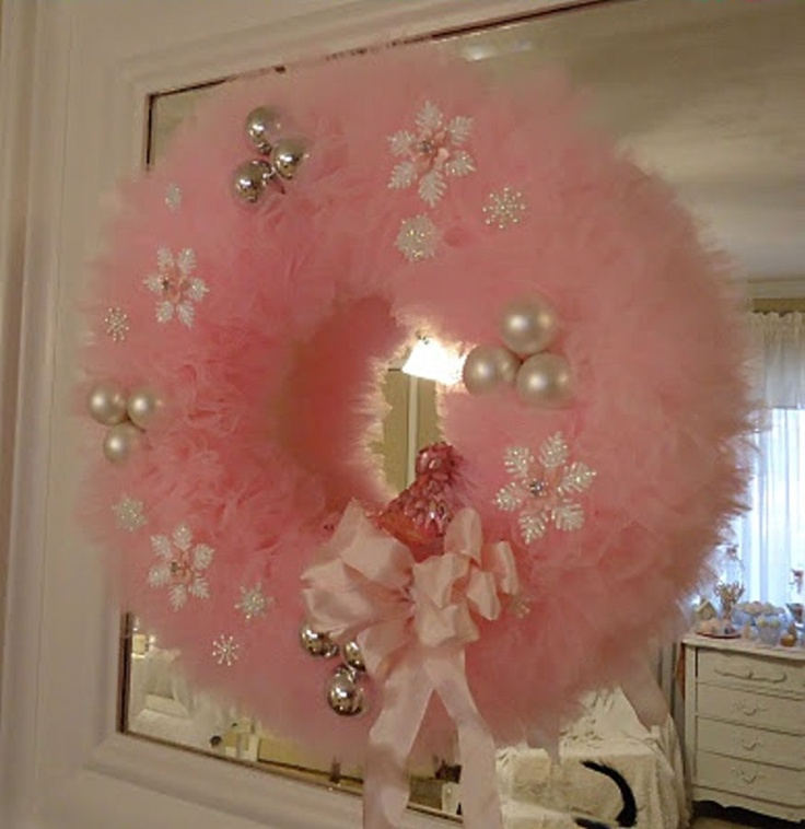 Pink feathered Christmas wreath