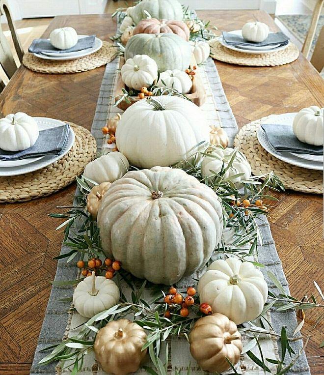Pumpkin Centerpiece Metallic Pumpkins Fall Table Centerpieces Fall Dining Table Fall Thanksgiving Decor