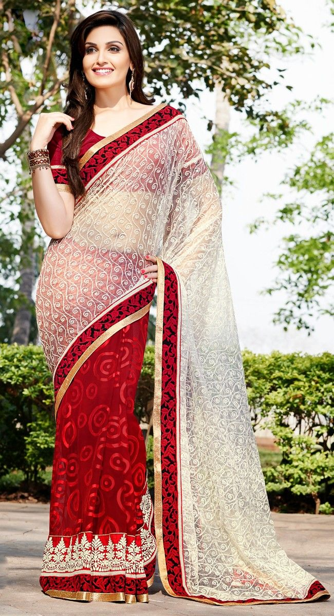 Off-White and Red color Half And Half Saree-Brasso Embroidered #Saree
