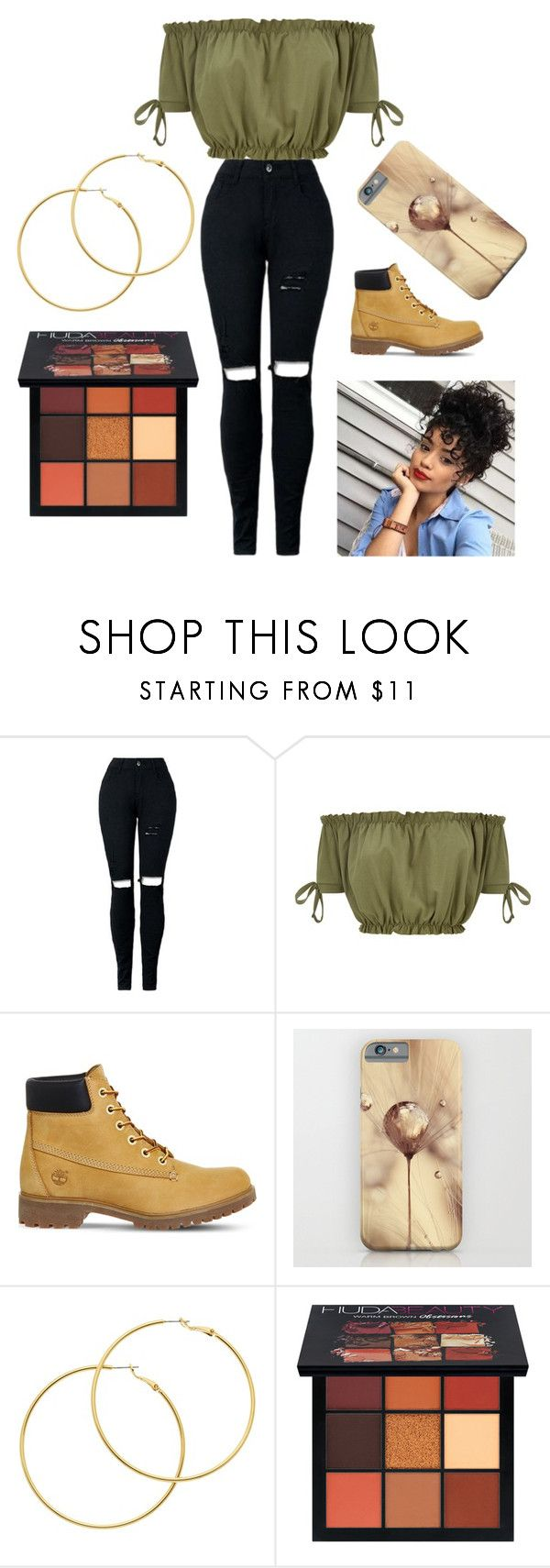 """Olive green cropped top"" by stylists-clxv on Polyvore featuring Timberland, Melissa Odabash and Huda Beauty"