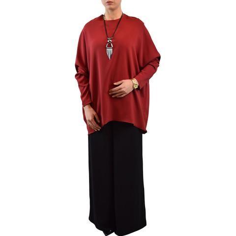 Modeset: Rote schmetterlings Bluse mit weiten Ärmeln mit Designer Kette