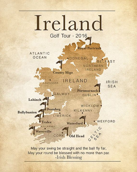 Gift for Golfer, Ireland Map, Golf Map, Personalized Golf Gifts, Golf Courses in Ireland, Irish Blessing, Ireland Quote, Celtic, Northern