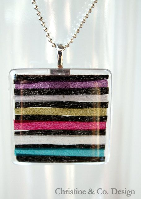 Muti Color Washi Tape Square Glass Pendant / Handbag Charm by ChristineandCodesign on Etsy, $24.00