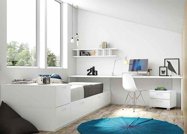 Dormitorio juvenil con cama modular y una amplia zona de for Muebles juveniles zona sur
