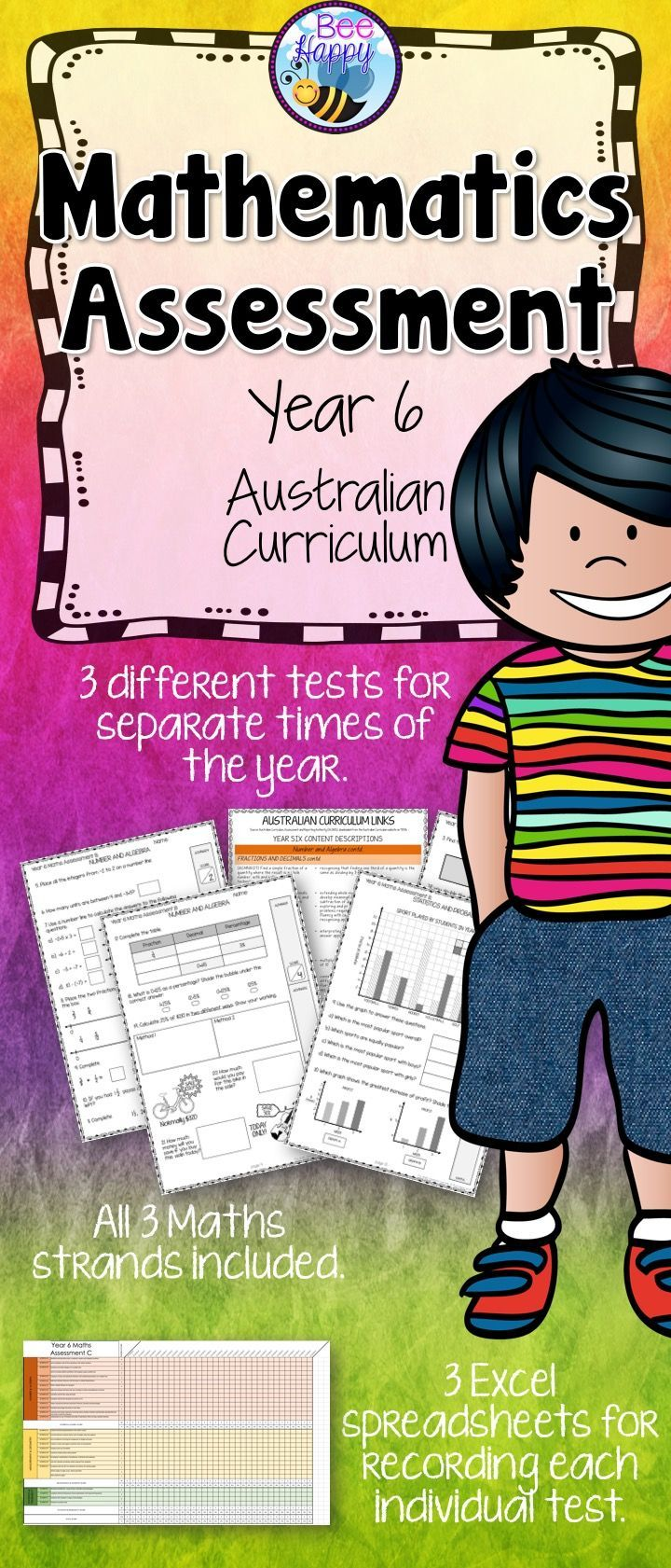 These Maths tests, for year six students, are linked to the Australian Curriculum. They cover Number & Algebra, Measurement & Geometry and Statistics & Probability. This package includes three assessments that will provide data that can be used to inform judgements of student achievement at certain times of the school year.
