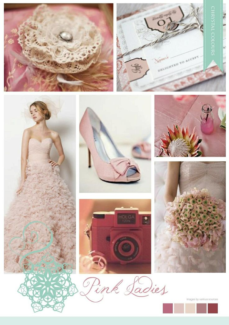 Romantic inspired pink mood board made by Chrystalace Wedding Stationery.