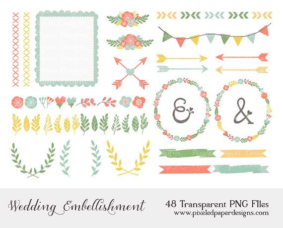 "Wedding Clip Art: ""FLOWER, WREATH, ARROW"" Digital Clipart for scrapbooking, card, invites. on Etsy, $3.85"