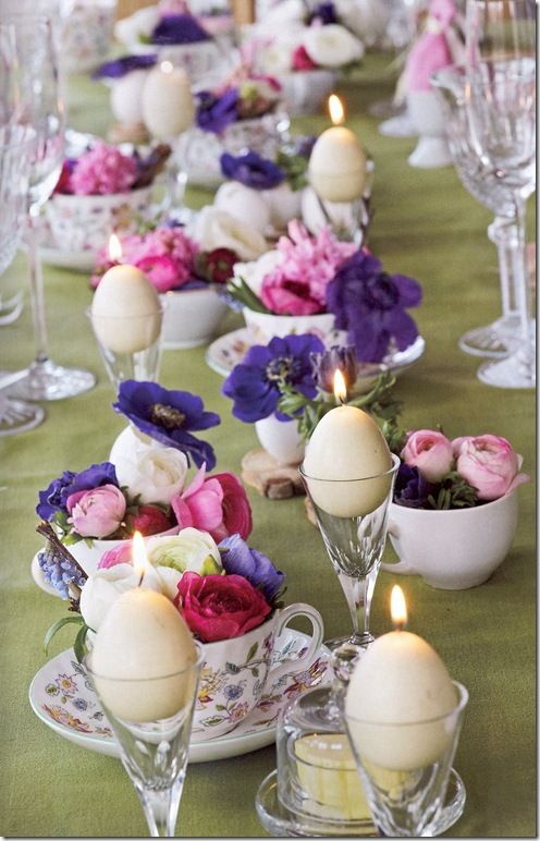 I loved this Sherry glasses used for eggs - great brunch idea for bridal -- color marble the eggs (dye and a little olive oil mixed on sandwich bag marble effect) assorted teacups and saucers filled with flowers