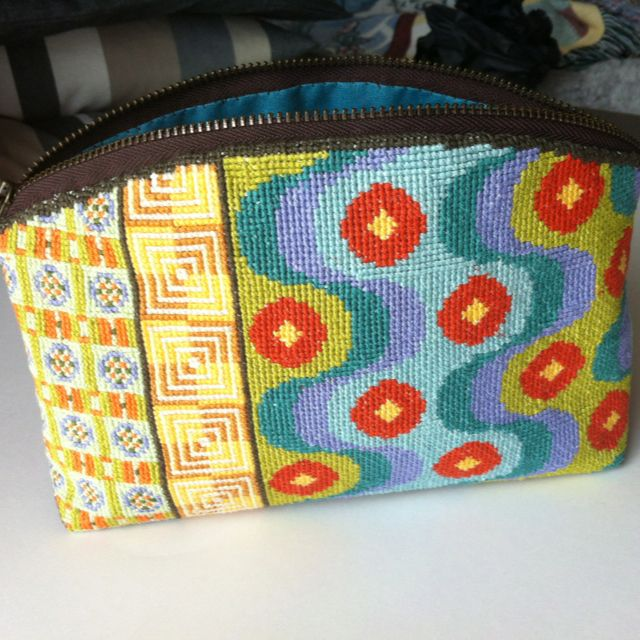 My cross-stitched cosmetic purse, other side.