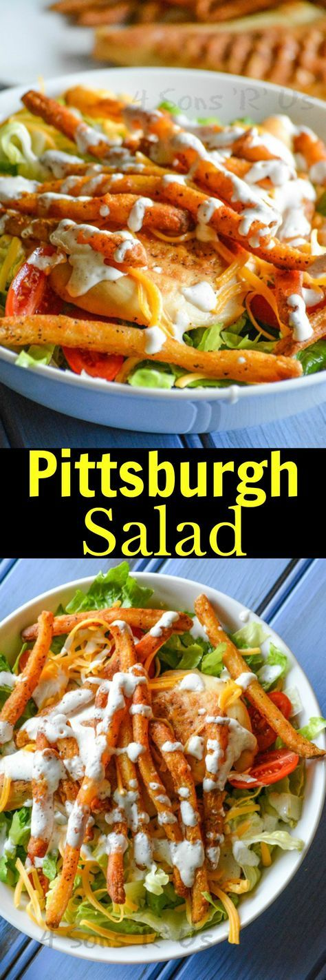 A hearty salad that originated in Pittsburgh, it's unique spin on the leafy dish features grilled chicken or steak and a heaping helping of crispy French fries. Its a fun, fresh spin on a traditional simple salad, and a must try recipe for Summer.