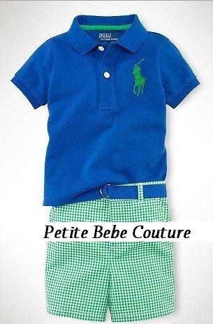 PbC- Polo Inspired Boys Top (Navy) and Shorts (green) Set.     (Belt & Belt Loop Holes not available on shorts)     www.petitebebecouturepage.aradium.com