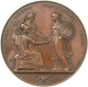 Artemide Aste - Asta XXVI: 1094 - Regno di Sardegna Vittorio Emanuele II (1849-1861) Medaglia 1855 per la visita del Re a Londra - Dea Moneta