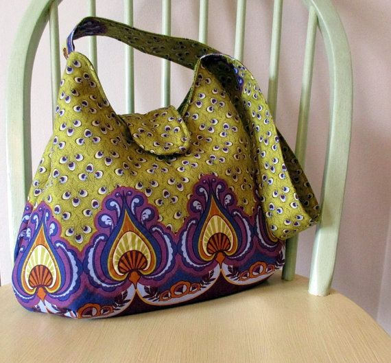 Green And Purple Shoulder Bag  Boho Shoulder Bag by bungalowquilts