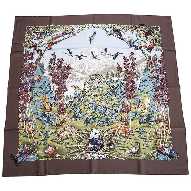 """Available mightychic.com Hermes Scarf """"SICHUAN """" Wildlife Signed R. Dallet New"""