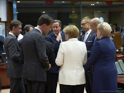 From left to right: Taavi Roivas, Estonian Prime Minister, Mark Rutte, Dutch Prime Minister, David Cameron, UK Prime Minister, Angela Merkel...
