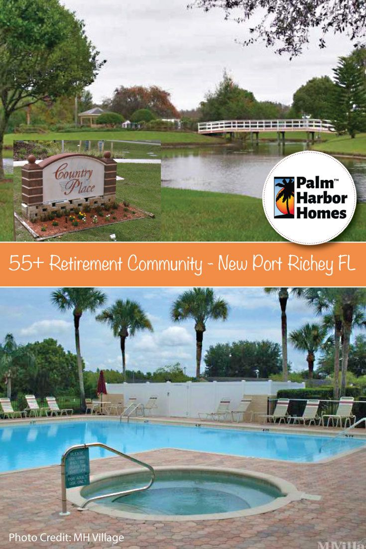 Country Place Village -  Ever wish you could live on the water? At Country Place you have the opportunity to do just that. Located in beautiful New Port Richey, FL, this 55+ retirement mobile home community has waterfront sites available to make your wish come true.