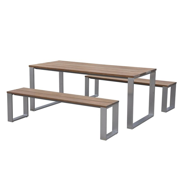 Mimosa Timber & Aluminium Bench Setting 3pc   Bunnings Warehouse