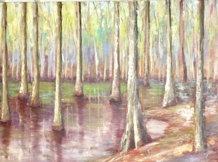 Cypress Trees in the Delta, Mississippi, 36x48, www.peytonhutchinson.com