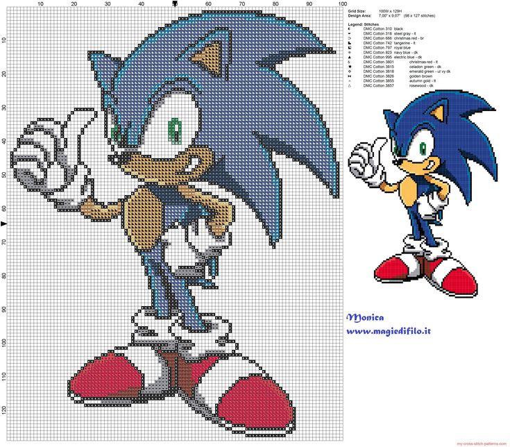 Sonic patrón punto de cruz