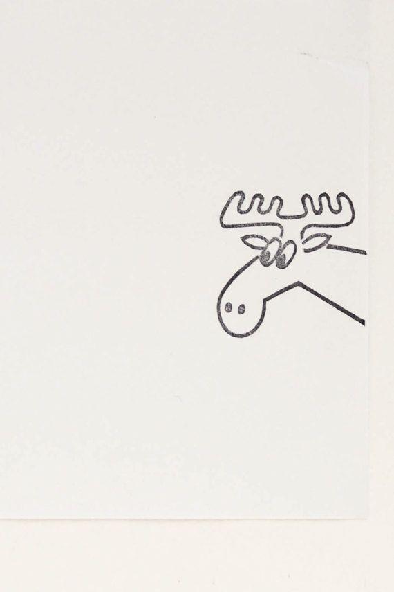 Elk stamp woodland creature moose stamp peekaboo stamp