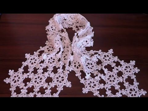 How to crochet scarf VERY EASY Snowflake motif Step by step  Tutorial Pa...